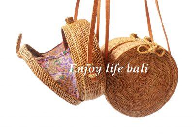 Round Bag Butterfly Clip Natural Rattan Ata Bali Linen