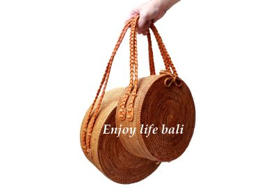 Round Bag Super Jumbo Short Strap Braid Rattan Ata Bali Mix Linen1
