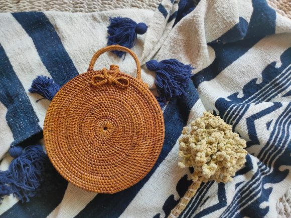 Round Butterfly Handbag Rattan
