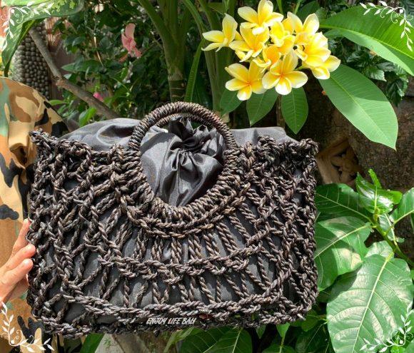 Nara Black Handbag Natural Bali