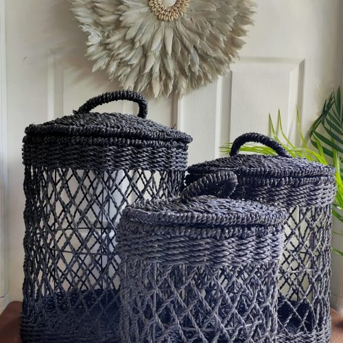 Black Laundry Basket Natural Bali