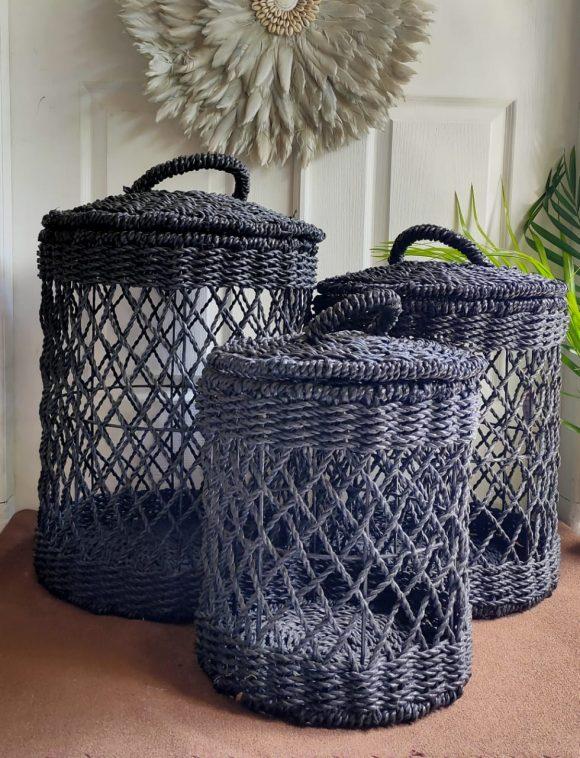 Black Laundry Basket Natural Bali