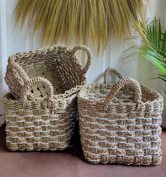 Verbana Brick Basket White Natural