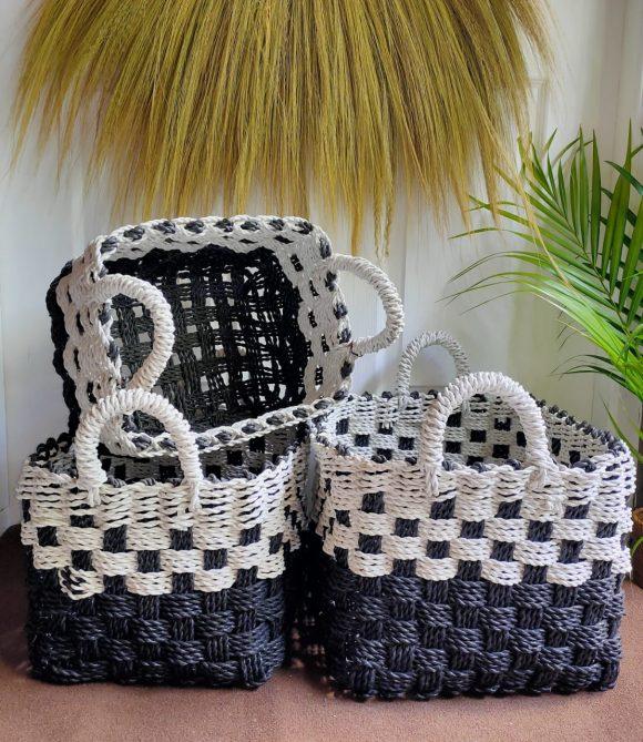 Verbana Brick Basket Black White