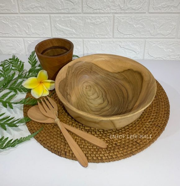 Wooden Bowl + Wooden Set Fork & Spoon + Wooden Mini Cup + Circle Placemat Rattan Ata