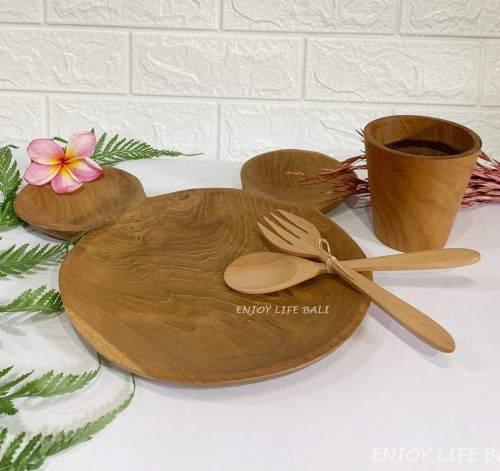 Wooden Micky Plate + Wooden Mini Cup + Wooden Set Fork & Spoon