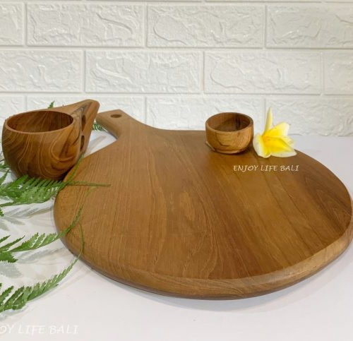 Wooden Pizza Pan + Wooden Sause Cup + Wooden Cup 2 Hole