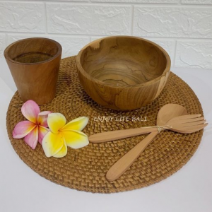 Wooden Rice Bowl + Wooden Set Fork & Spoon + Wooden Mini Cup + Circle Placemat Rattan Ata