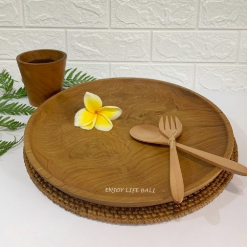 Wooden Round Plate + Wooden Set Fork & Spoon + Wooden Mini Cup + Circle Placemat Rattan Ata