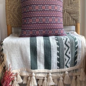 Throw Roselle Green Tassels