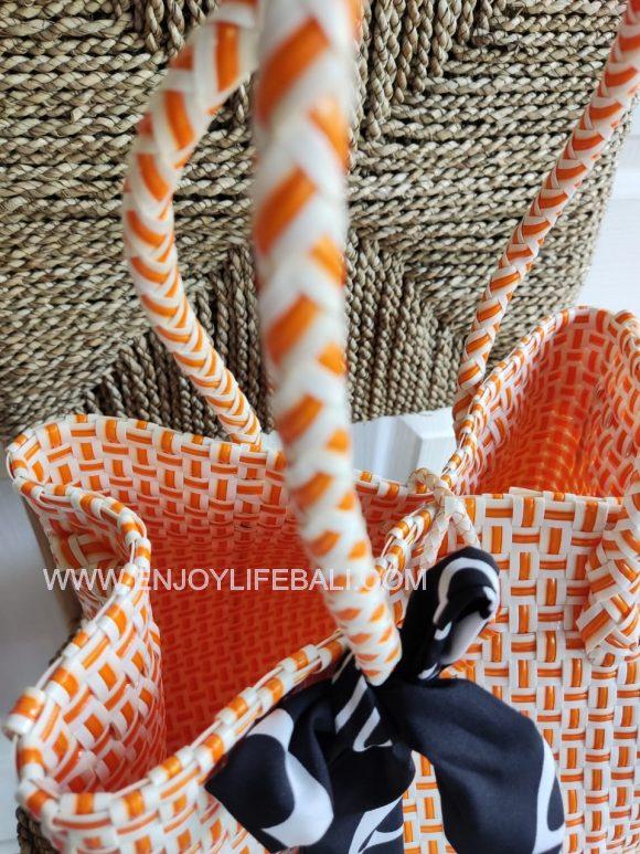 Victoria Orange and White Bag (L)