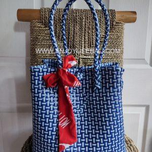 Victoria Blue dot White Bag (L)